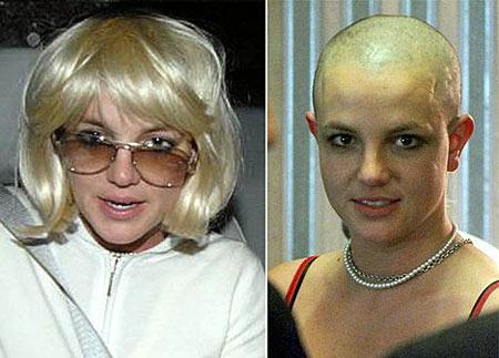 Britney calva y con peluca