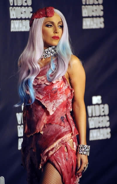 MTV 2010 Lady Gaga vestido de carne 2